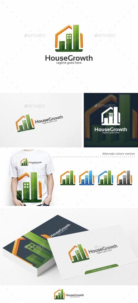 House Growth / Graph - Logo Template - Buildings Logo Templates