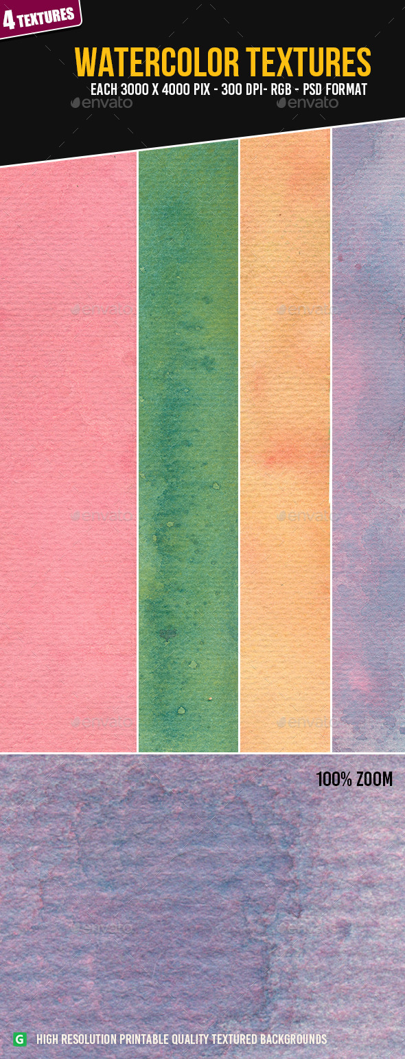 Watercolor Texture Pack 68 - Art Textures
