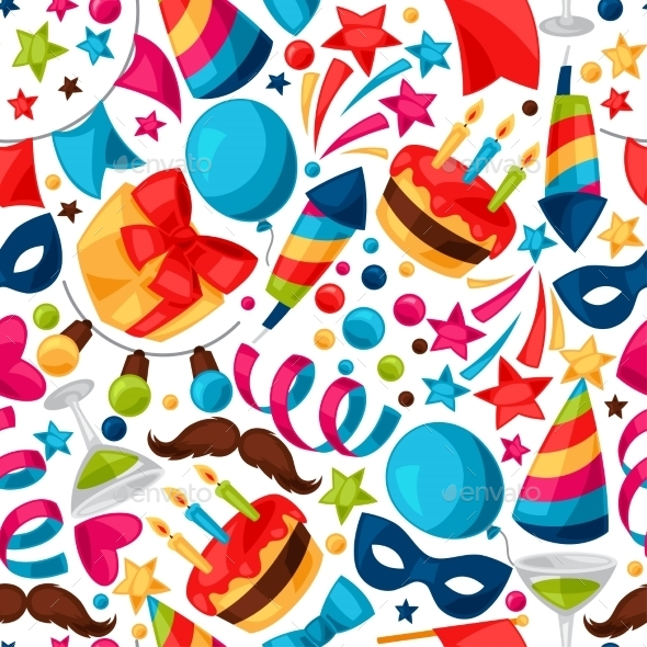 Carnival Show and Party Seamless Pattern