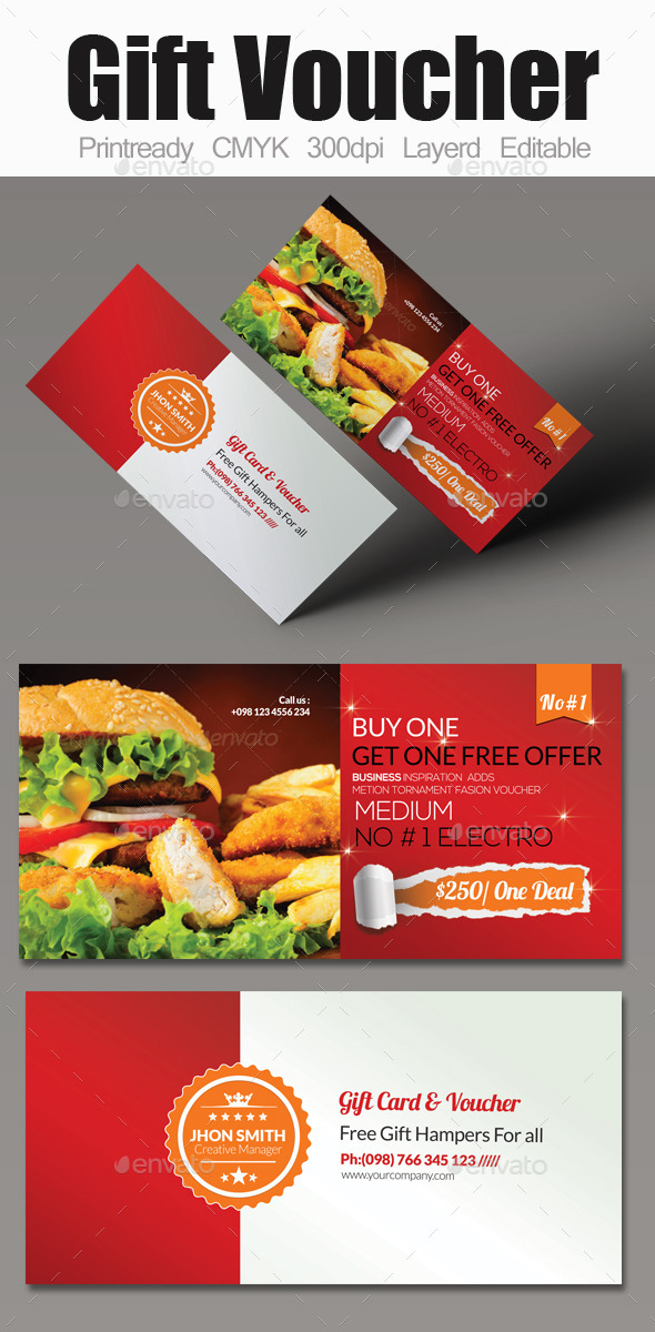 Food Gift Voucher - Cards & Invites Print Templates