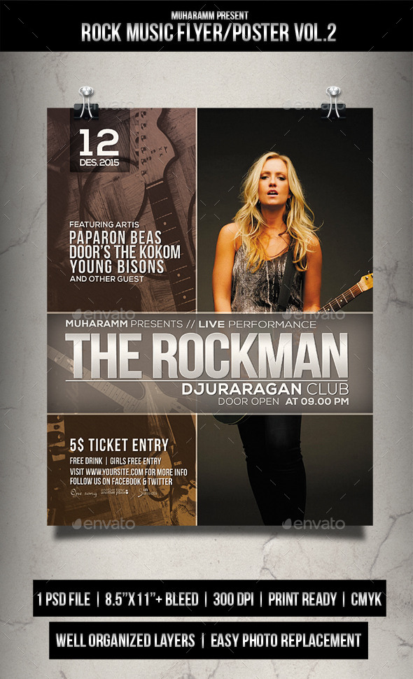 Rock Music Flyer / Poster - Events Flyers