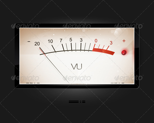 VU old-style modern scale amplifier, vector icons, - Retro Technology