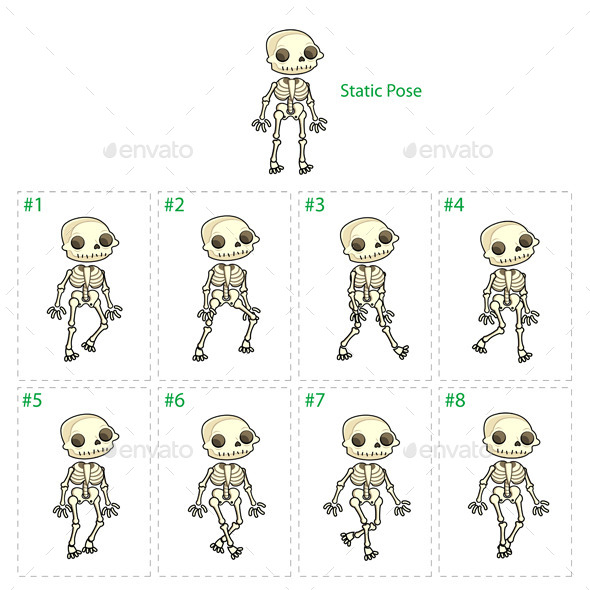 Animation of Skeleton Walking - Monsters Characters