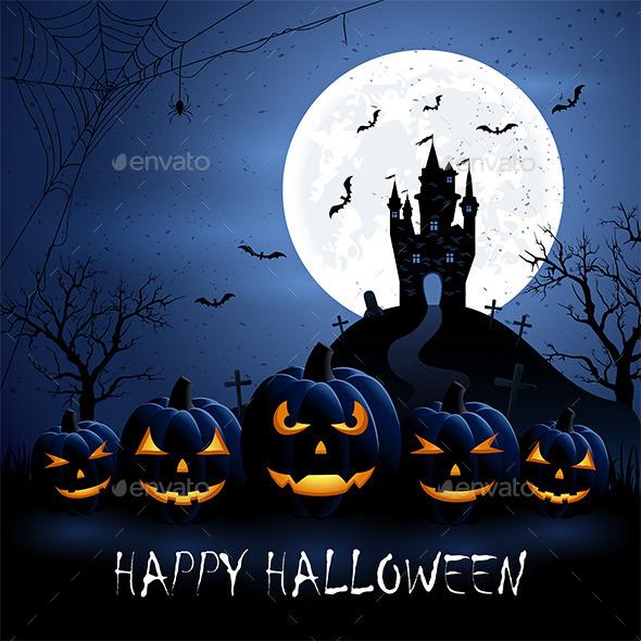 Halloween Pumpkins and Castle - Halloween Seasons/Holidays
