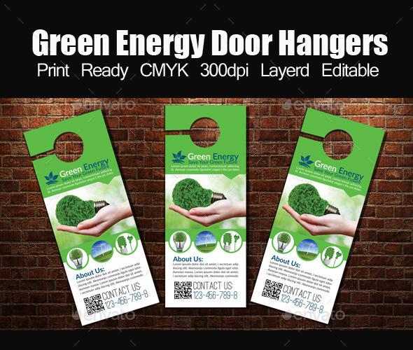 Green Energy Door Hangers Template - Miscellaneous Events