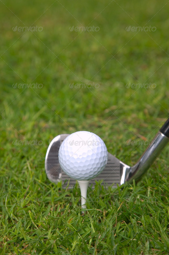 Iron tee shot - Stock Photo - Images