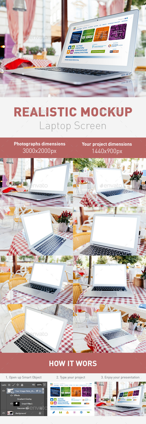 Realistic Laptop Screen Mockup 8 PSD Files