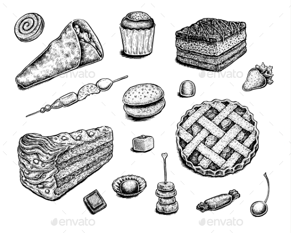 Collection of Hand Drawn Ink Desserts - Food Objects