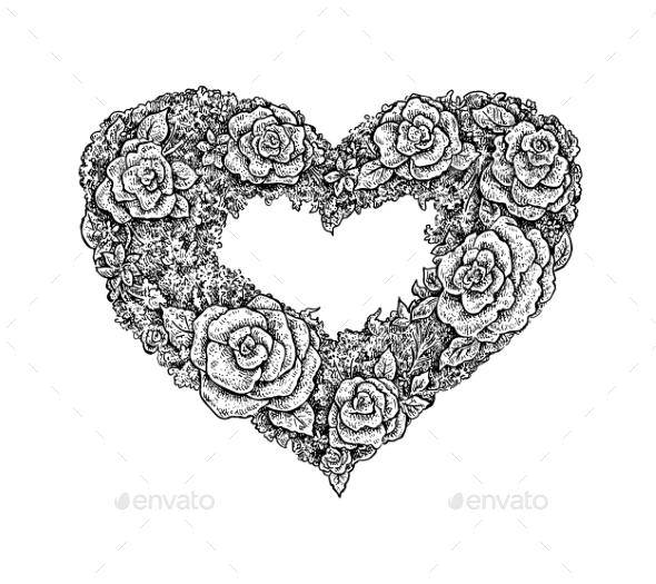 Vintage Style Ink Floral Heart Frame