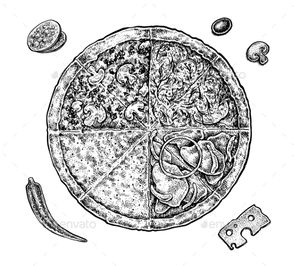 Set of Hand Drawn Ink Pizza and Ingredients - Food Objects