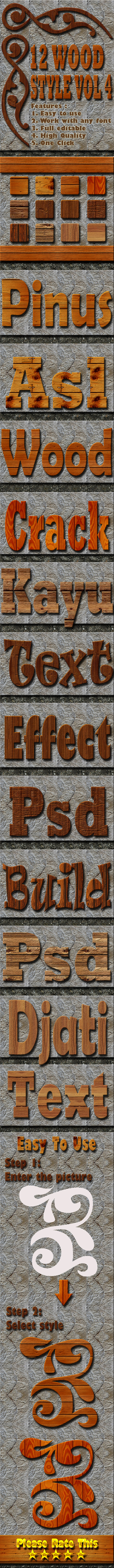 12 Wood Text Effect Style Vol 4 - Styles Photoshop