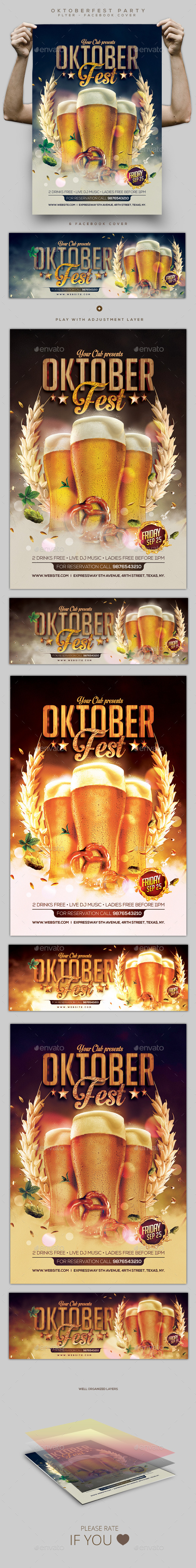 Oktoberfest Party Flyer and Facebook Cover - Clubs & Parties Events