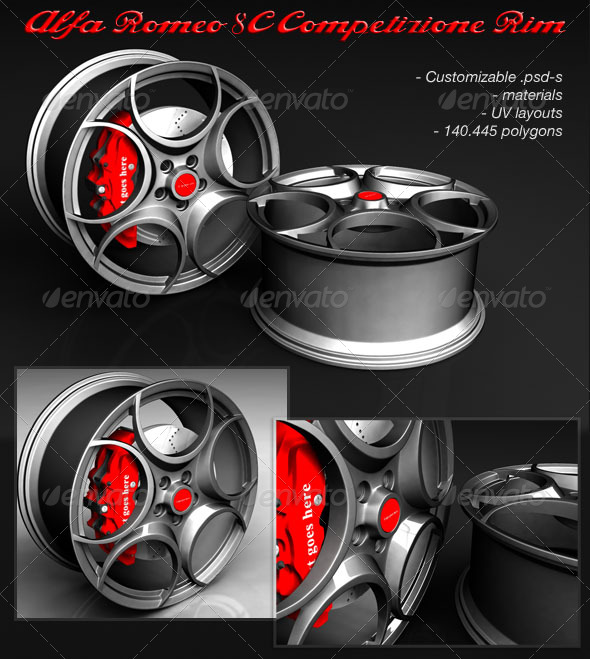 Alfa Romeo 8C Competizione RIM in Maya - 3DOcean Item for Sale