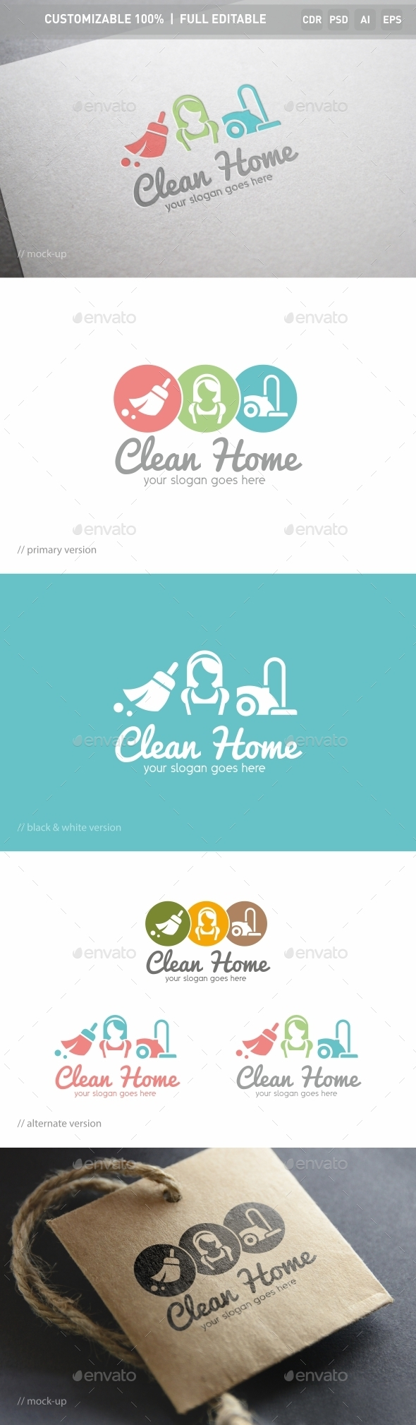 Clean Home Logo Template - Objects Logo Templates