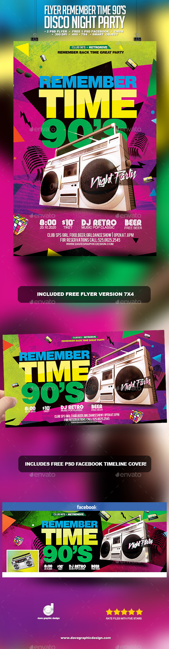 Flyer Remember Time 90's - Disco Night Party - Clubs & Parties Events