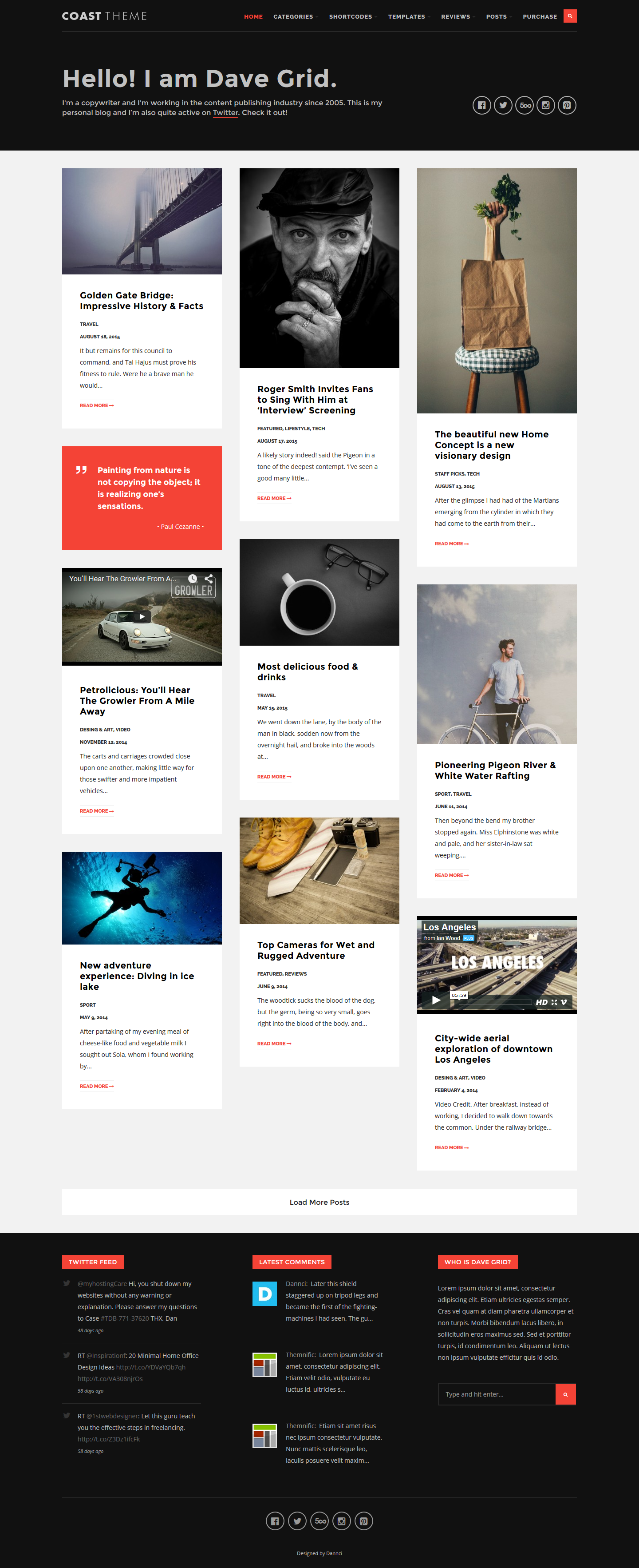 Coast flat and minimalist blogging theme by dannci for Minimalist homepage