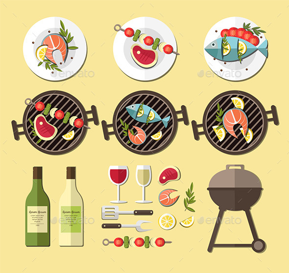 BBQ Grill Set - Food Objects