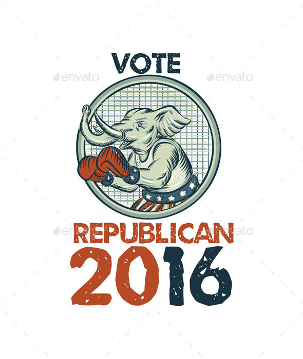 Vote Republican 2016 Elephant Boxer Etching - Animals Characters