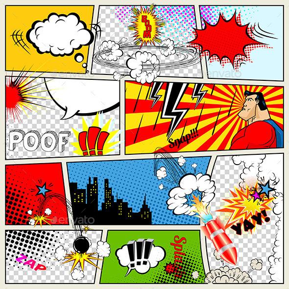 Comics Template. Vector Retro Comic Book Speech Bubbles Illustration - Abstract Conceptual