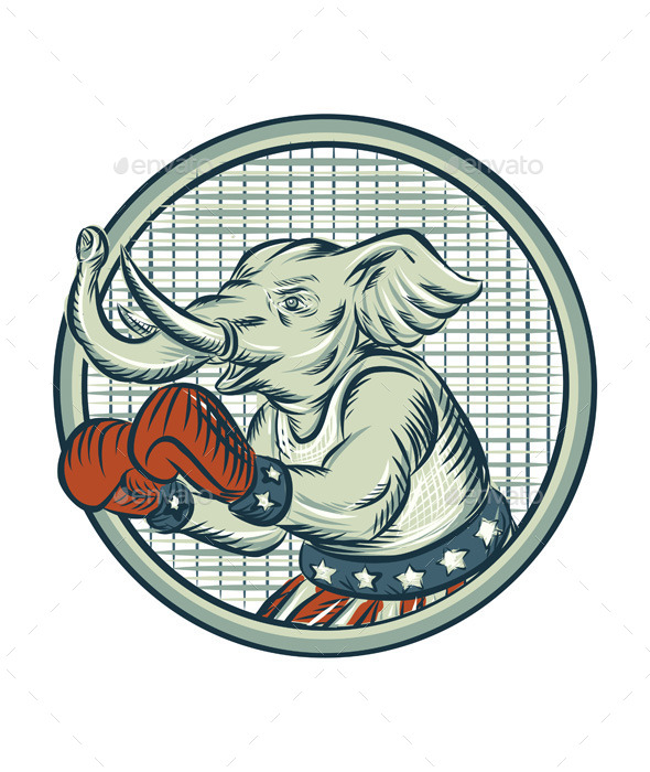 Republican Elephant Boxer Mascot Circle Etching - Animals Characters