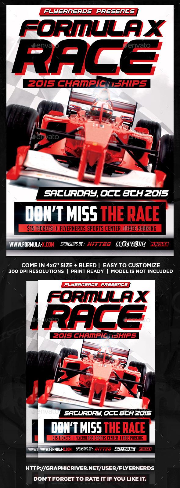 Formula X Championships Sports Flyer - Sports Events