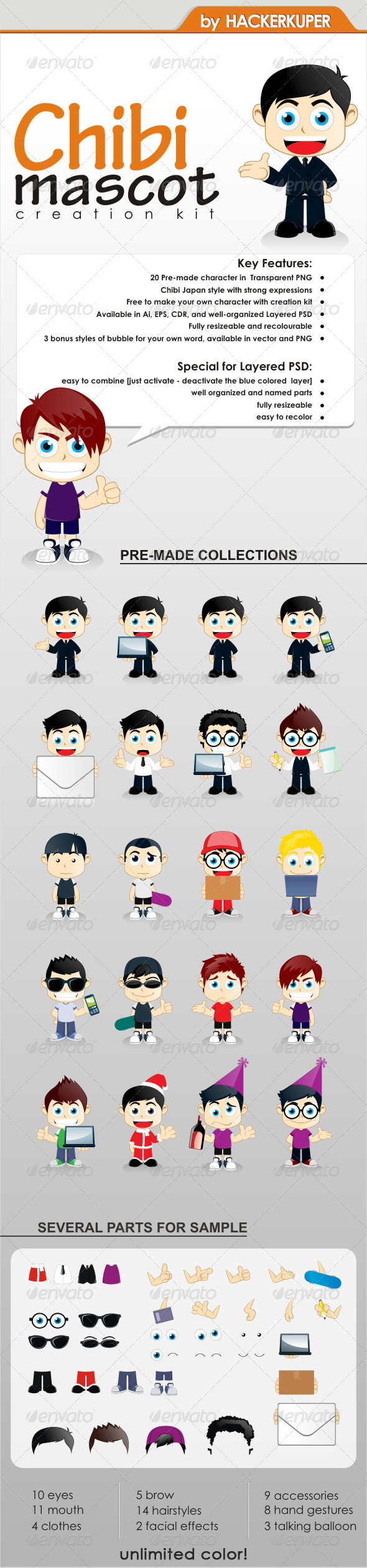 Chibi Mascot Creation Kit - For General Business - Characters Vectors