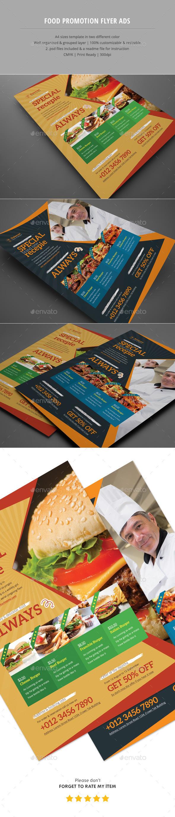 Food Promotion Flyer Ads - Restaurant Flyers