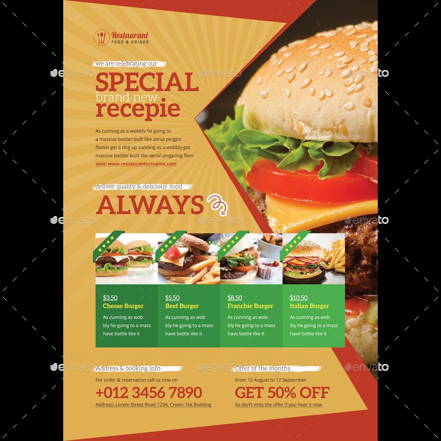 food promotion flyer ads by samiul75 graphicriver. Black Bedroom Furniture Sets. Home Design Ideas