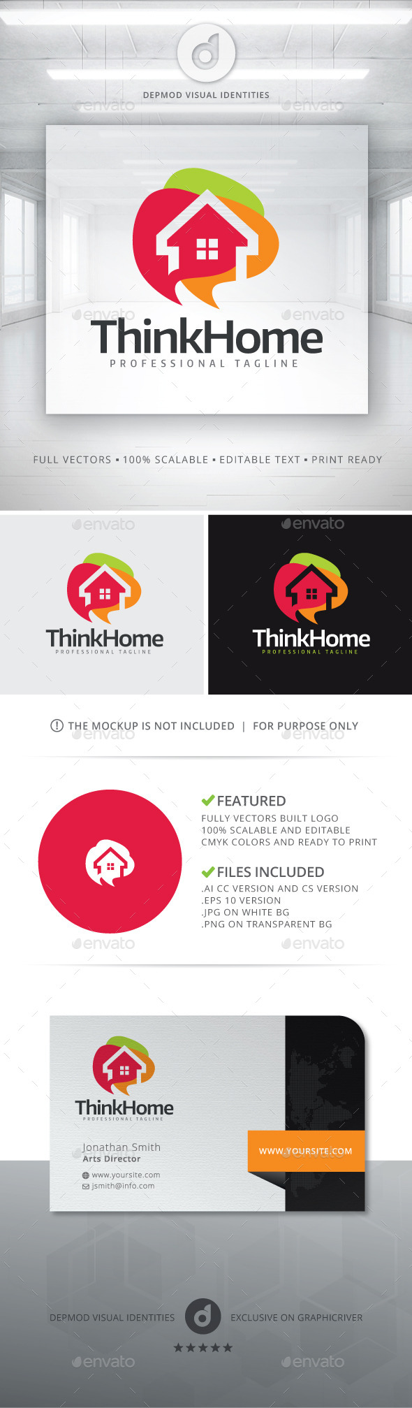 Think Home Logo - Buildings Logo Templates