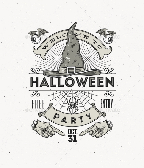 Line Art Vector Illustration for Halloween Party - Halloween Seasons/Holidays