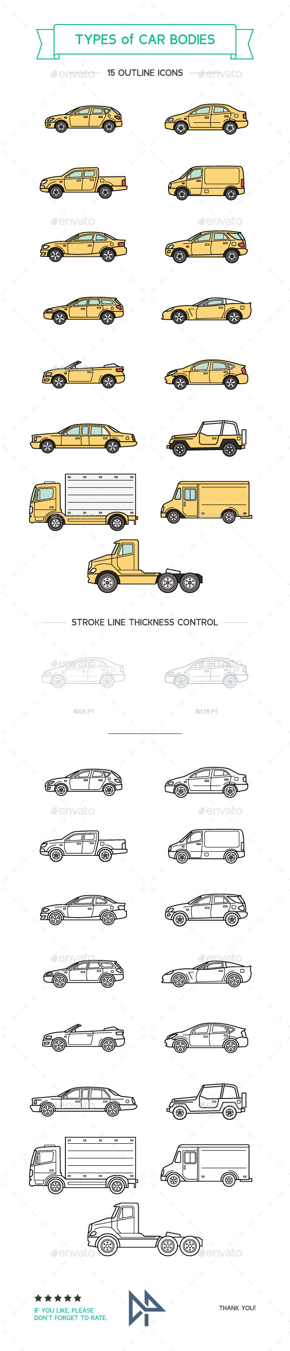 Types Of Car Bodies - Objects Icons