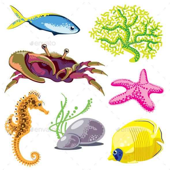 Set of Sea Animals - Animals Characters