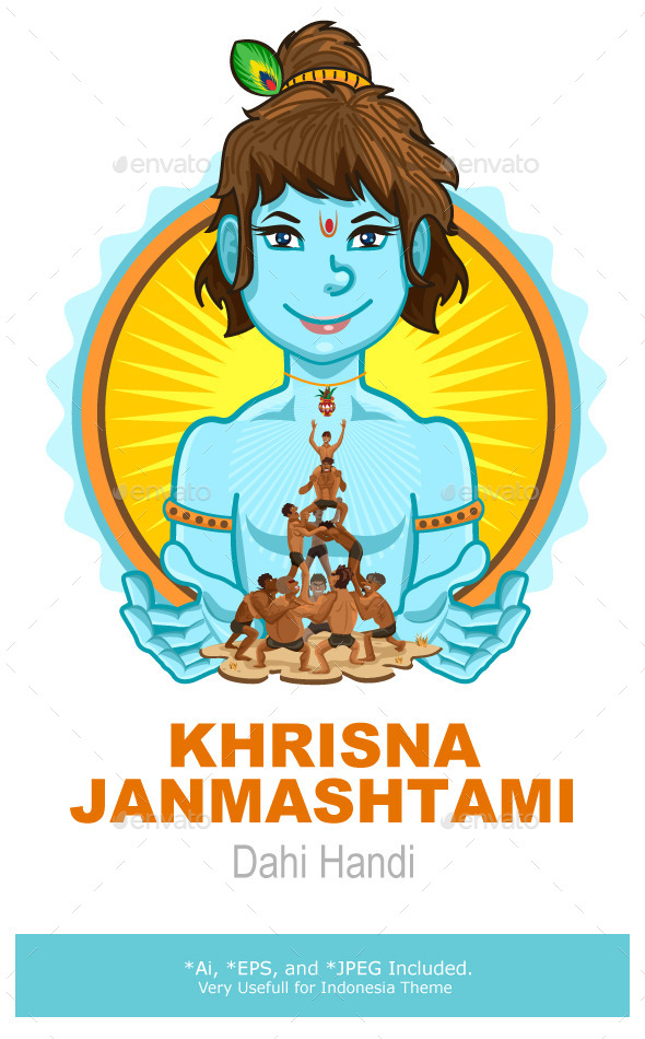 Krishna Janmashtami Dahi Handi Illustration - Religion Conceptual