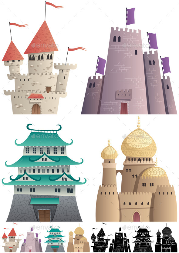 Cartoon Castles on White - Buildings Objects