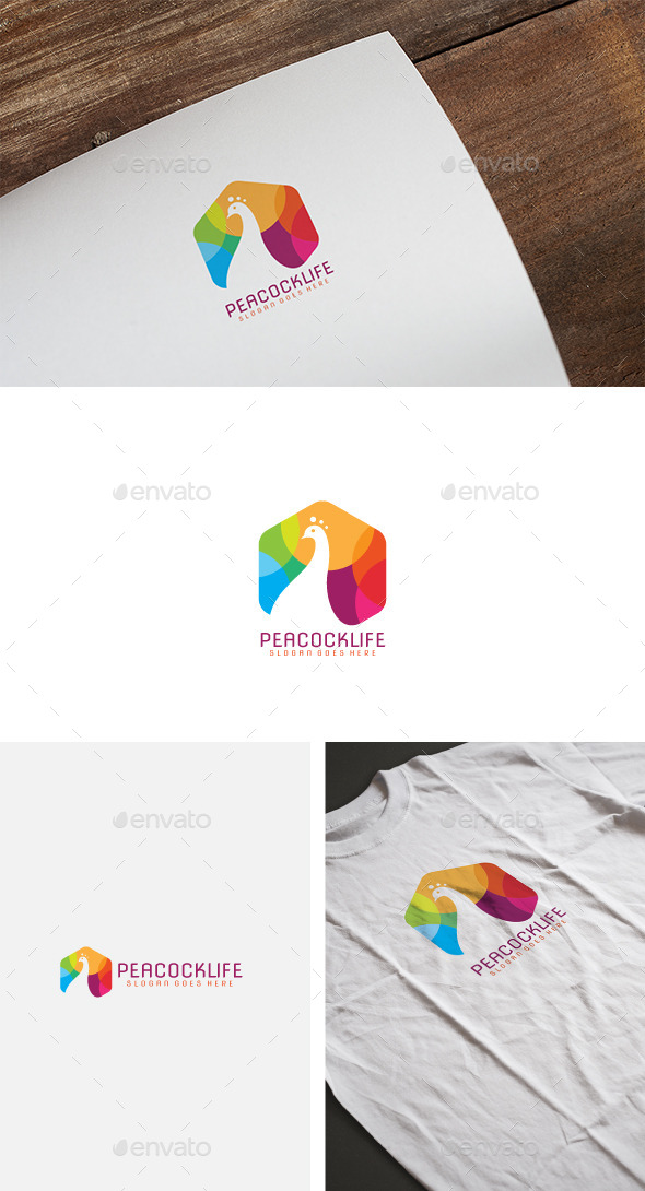 Peacock Color Logo - Animals Logo Templates