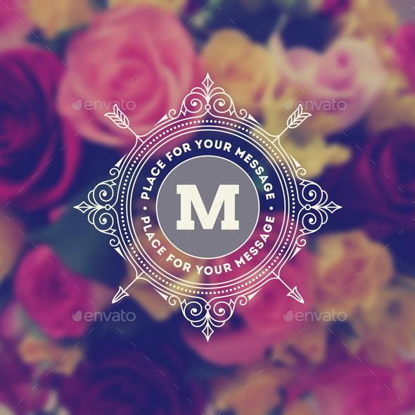Monogram Logo on Flowers Background