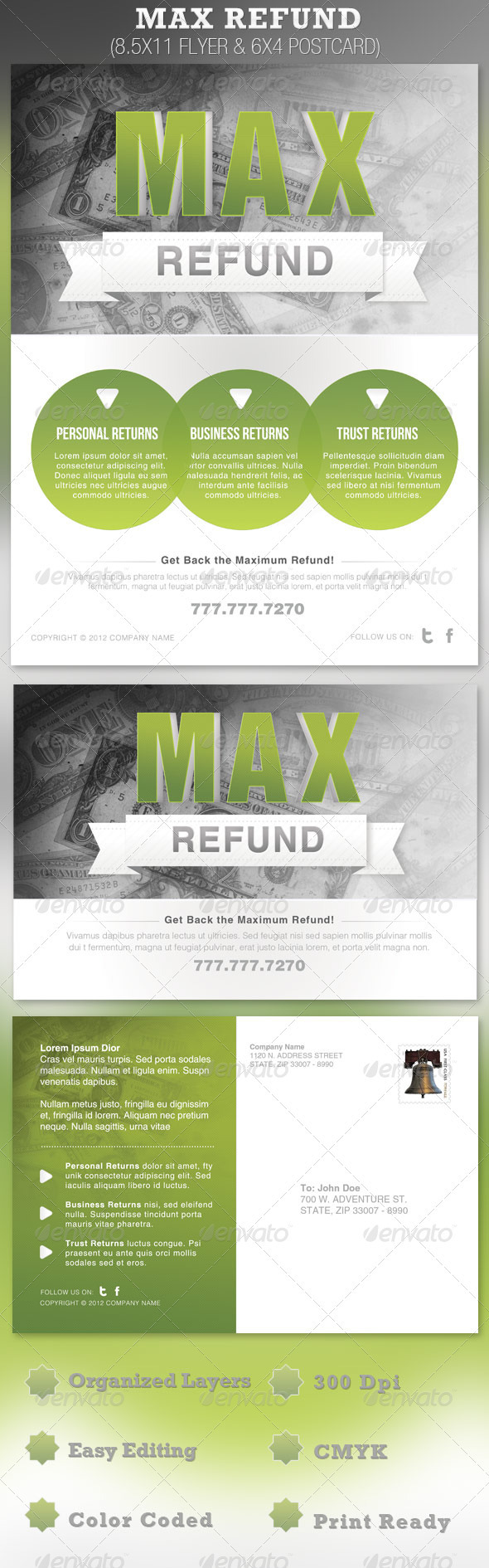 Max Refund Flyer and Postcard Template - Corporate Flyers