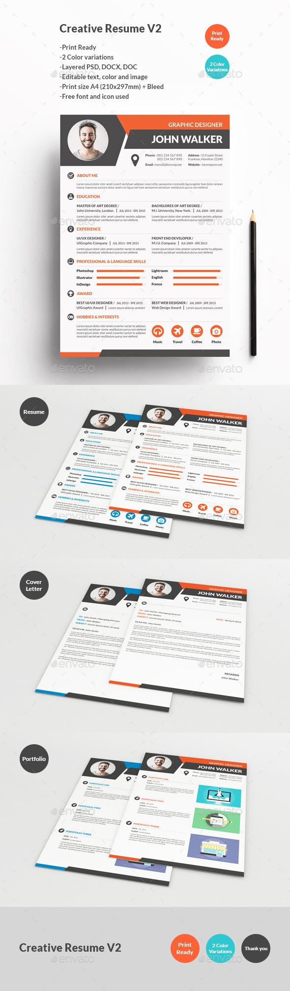 Creative Resume V2 - Resumes Stationery