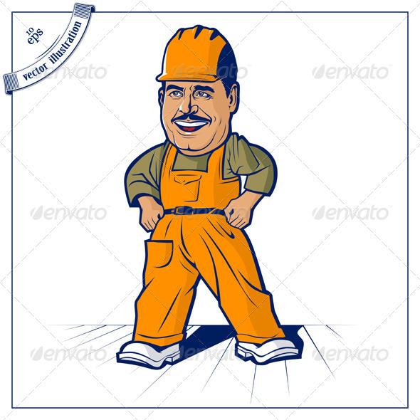 Cartoon Builder Worker Man  - People Characters