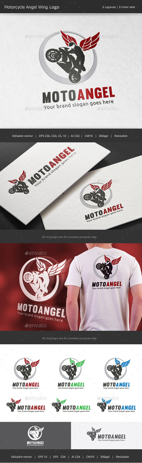 Motorcycle Angel Wing Logo - Vector Abstract