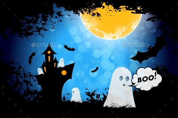 Grungy Halloween Background with Ghosts - Halloween Seasons/Holidays