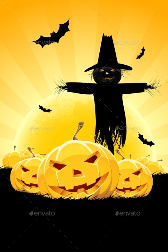 Halloween Background with Pumpkin and Scarecrow - Halloween Seasons/Holidays