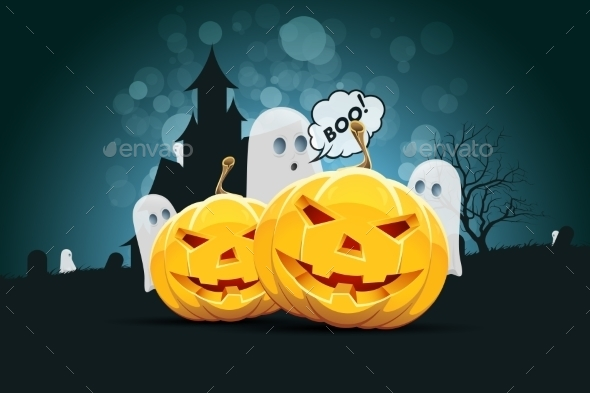 Halloween Background with Pumpking and Ghost - Halloween Seasons/Holidays