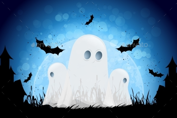 Halloween Background with Moon and Ghosts - Halloween Seasons/Holidays