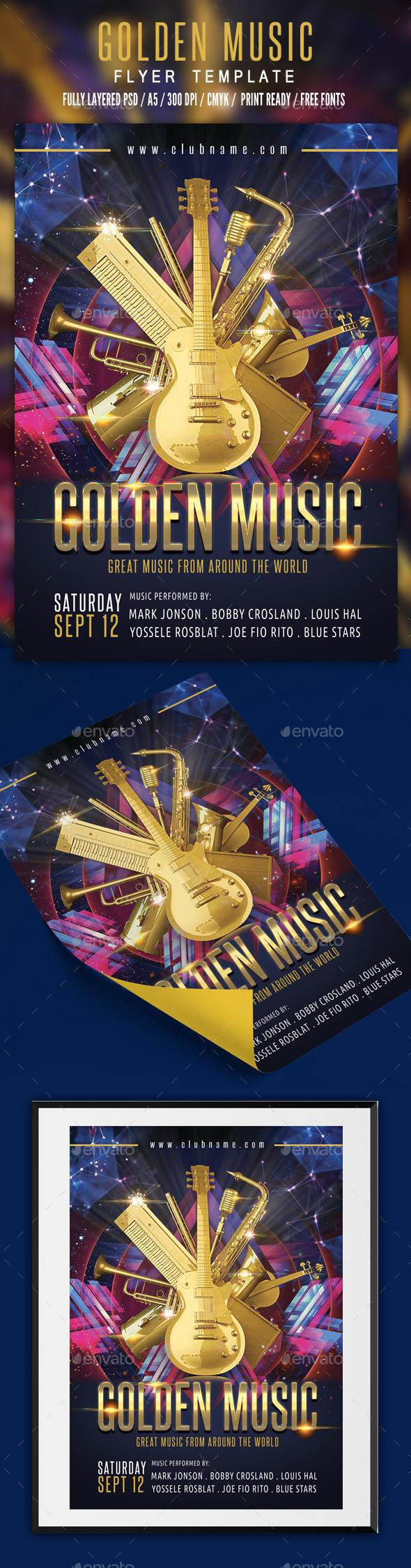 Golden Music Flyer Template - Events Flyers