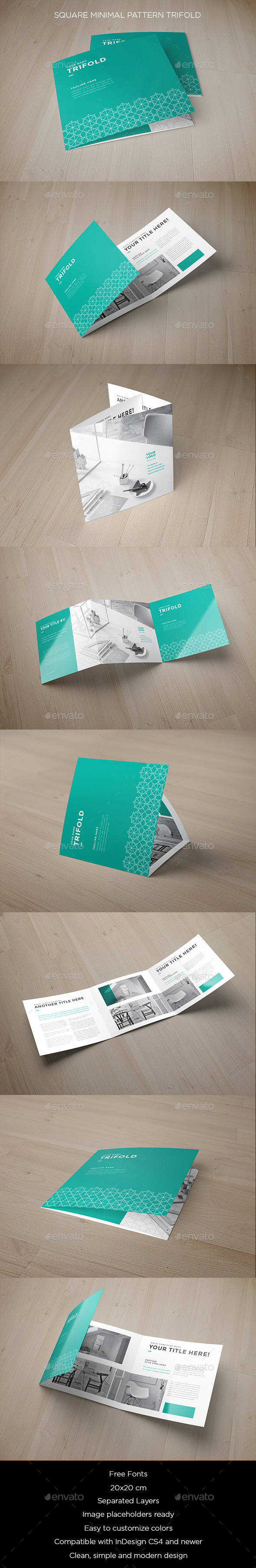 Square Minimal Pattern Trifold - Brochures Print Templates
