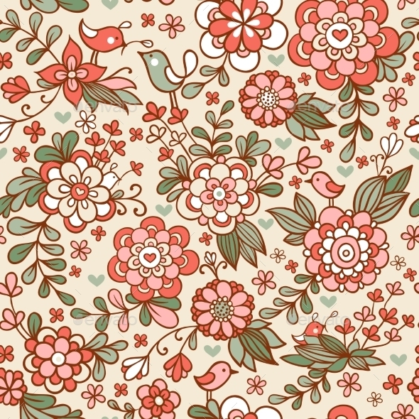 Vintage Floral Seamless Pattern - Flowers & Plants Nature