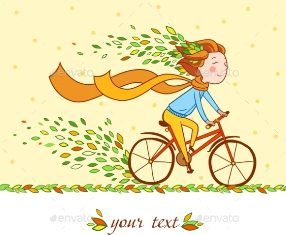 Girl on Bike Autumn Background - People Characters
