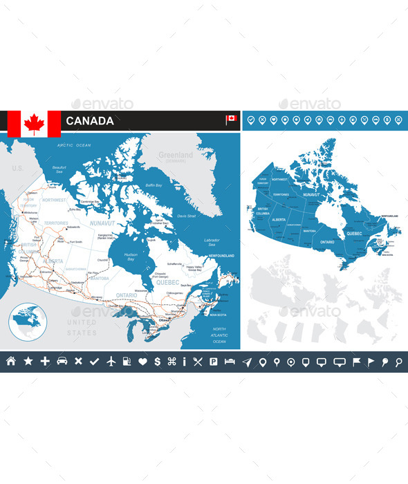 Canada Infographic Map - Travel Conceptual