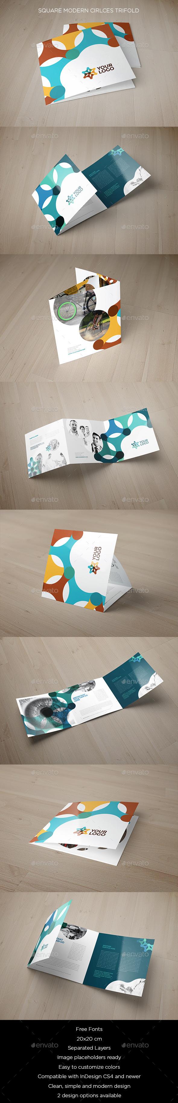 Square Modern Circles Trifold - Brochures Print Templates